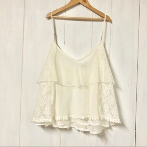 AEO White Tiered Lace Ruffle Crop Tank Top